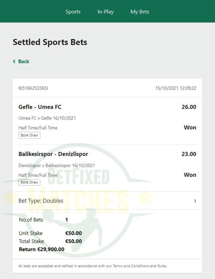 ht ft fixed bet 100% sure
